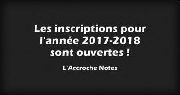 Les inscriptions 2017-2018 sont ouvertes !