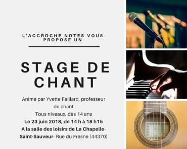 Stage de chant le 23 juin 2018 à La Chapelle-St-Sauveur !
