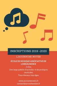 Inscriptions 2019-2020 Accroche Notes
