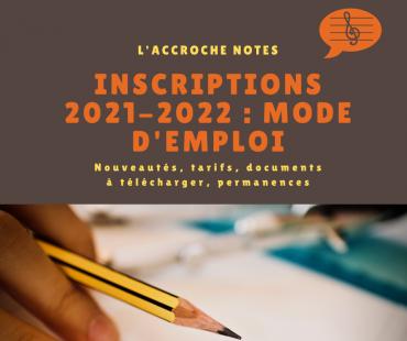 Inscriptions 2021-2022 : c'est parti !